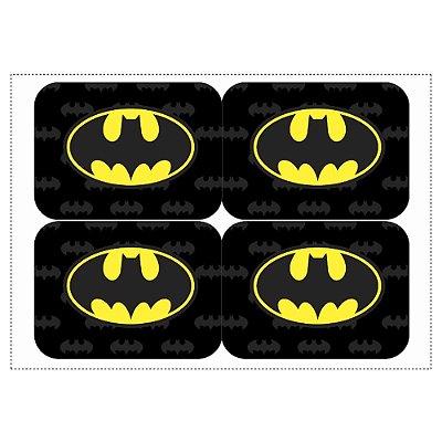 12 Adesivos Batman Geek para Lembrancinha Marmitinha 240ml - 9x12,5cm