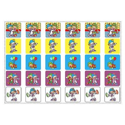 30 Adesivos Patati Patatá para Lembrancinha Quadrado 3,7cm