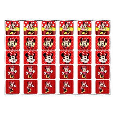 30 Adesivos Minnie Vermelha para Lembrancinha Quadrado 3,7cm