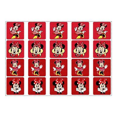 20 Adesivos Minnie Vermelha para Lembrancinha Quadrado 4,7cm