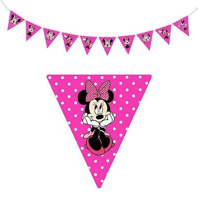 10 Bandeirolas Triangular Minnie Rosa