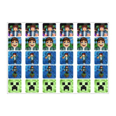 30 Adesivos Authentic Games Minecraft Quadrado 3,7cm