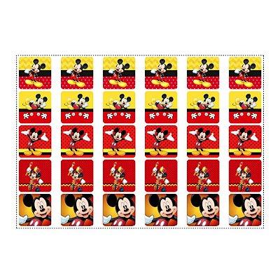 30 Adesivos Mickey para Lembrancinha Quadrado 3,7cm