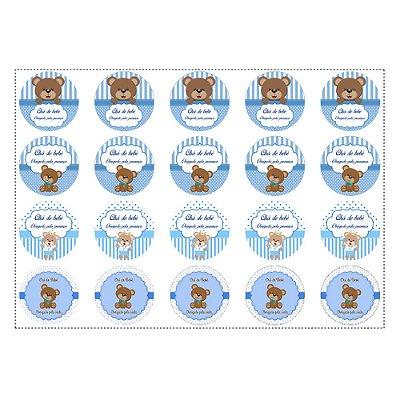 20 Adesivos Chá de Bebê Azul para Lembrancinha Redondo 4,7cm