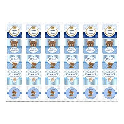 30 Adesivos Chá de Bebê Azul Quadrado 3,7cm
