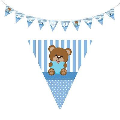 10 Bandeirolas Triangular Chá de Bebê Azul