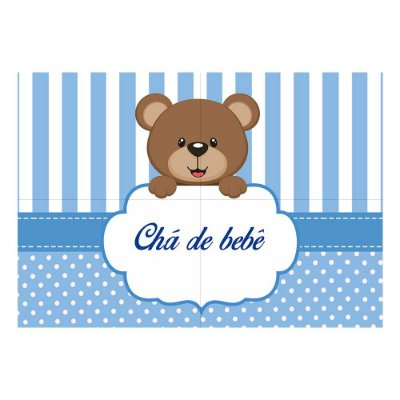 Painel de Festa Decorativo Chá de Bebê Azul - 1 Unidade