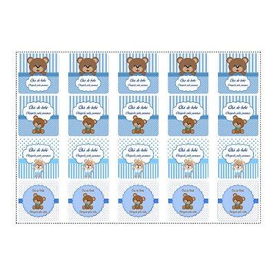 20 Adesivos Chá de Bebê Azul Quadrado 4,7cm