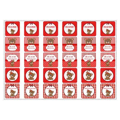 30 Adesivos Chá de Bebê Vermelho Quadrado 3,7cm
