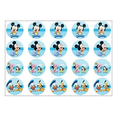 20 Adesivos Mickey Baby para Lembrancinha Redondo 4,7cm