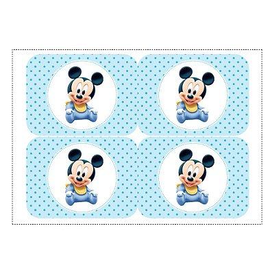 12 Adesivos Mickey Baby para Lembrancinha Marmitinha 240ml