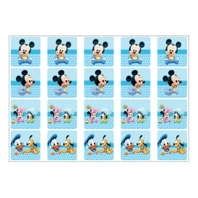 20 Adesivos Mickey Baby para Lembrancinha Quadrado 4,7cm