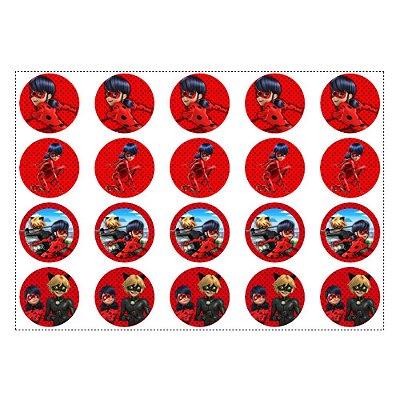 20 Adesivos Ladybug Miraculous Redondo 4,7cm