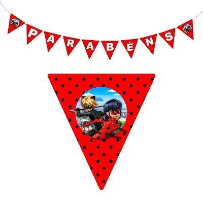 10 Bandeirolas Triangular Ladybug Miraculous