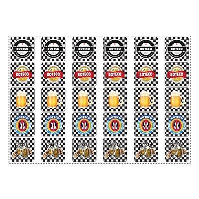 30 Adesivos Boteco Preto e Branco Quadrado 3,7cm