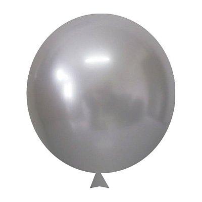 Balão / Bexiga Metalizado Alumínio Prata N°09 - 25 Unidades