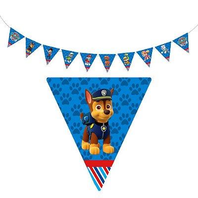 10 Bandeirolas Triangular Patrulha Canina Azul