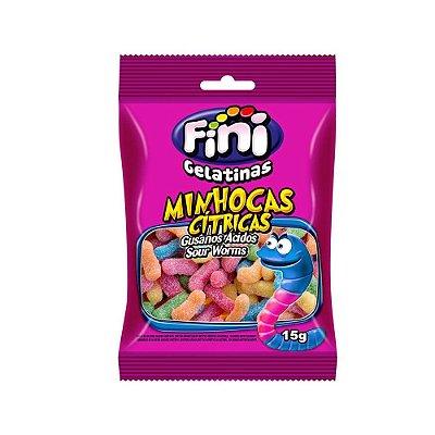 Fini Mini Minhocas Cítricas Bala Gelatina 15g - 1 Unidade