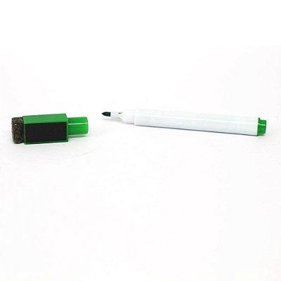 Mini Marcador Caneta para Quadro Branco Ponta Fina com Apagador e Imã - Tinta Cor Verde