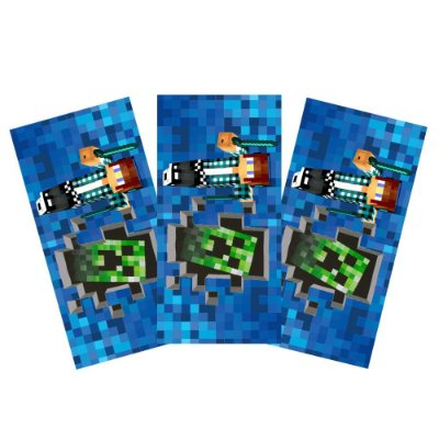 6 Adesivos Authentic Games Minecraft Retangular 20x10cm