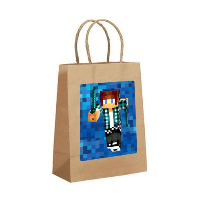 4 Sacolas de Papel Kraft Authentic Games Minecraft Tamanho P