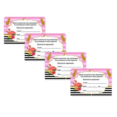 8 Convites Flamingo Abacaxi 7x10cm