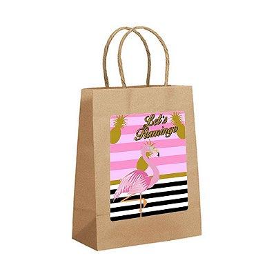 4 Sacolas de Papel Kraft Flamingo Abacaxi Tamanho P