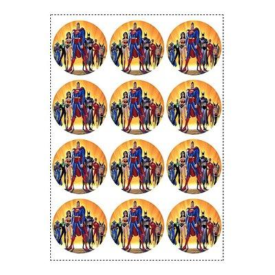 12 Adesivos Liga da Justiça Redondo 6,5cm
