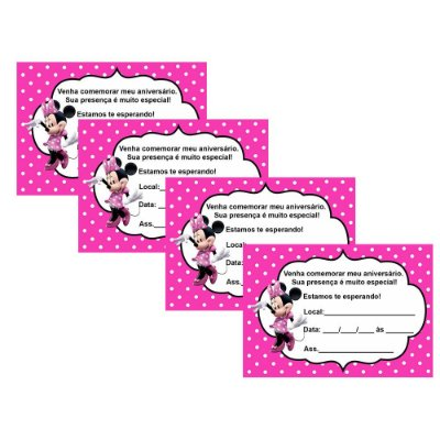8 Convites Minnie Rosa 7x10cm