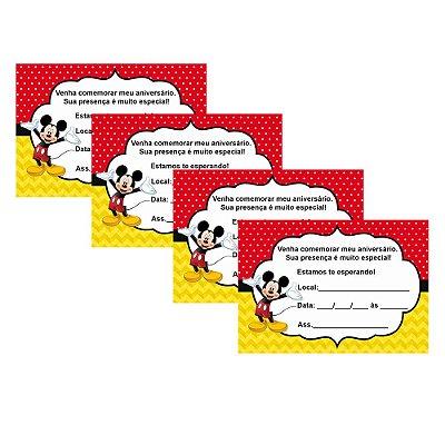 8 Convites Mickey 10x15cm