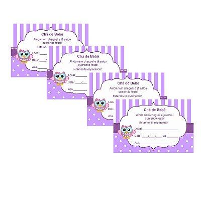 8 Convites Chá de Bebê Lilás 10x15cm