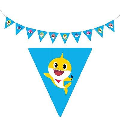 10 Bandeirolas Triangular Baby Shark