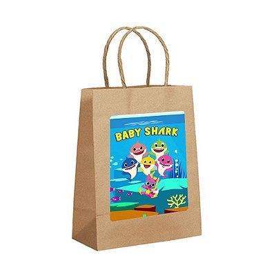 4 Sacolas de Papel Kraft Baby Shark Tamanho P