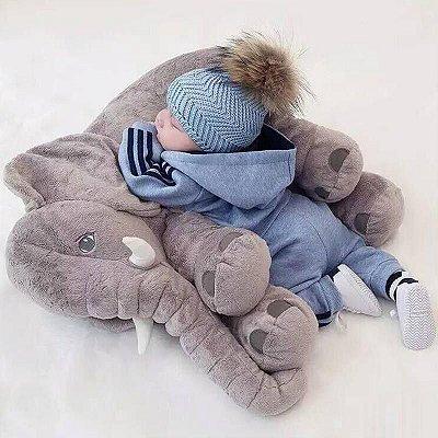 Almofada Elefante Pelúcia 55 cm Travesseiro Bebê Antialérgico Cinza