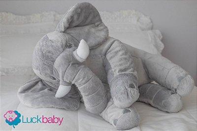 Almofada Travesseiro Elefante Bebê Pelúcia Cinza Com Branco 80cm