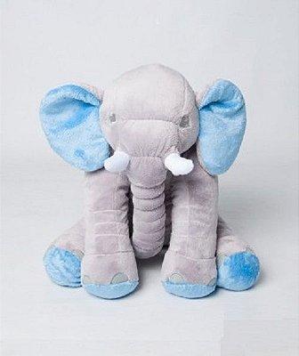 Almofada Elefante Pelúcia 45cm Travesseiro Bebê Antialérgico - Cinza com Azul