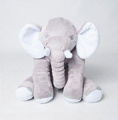 Almofada Elefante Pelúcia 45cm Travesseiro Bebê Antialérgico - Cinza com Branco