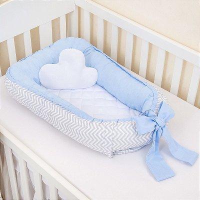 Ninho Redutor De Berço  3 Peças - Chevrom Azul Bebê
