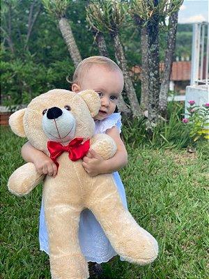 Urso De Pelúcia Teddy Grande Com Laço 65 cm - Doce De Leite