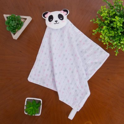Paninho Naninha Bichinho Porta Chupeta Bebe Pelúcia - Ursinho Panda Menina