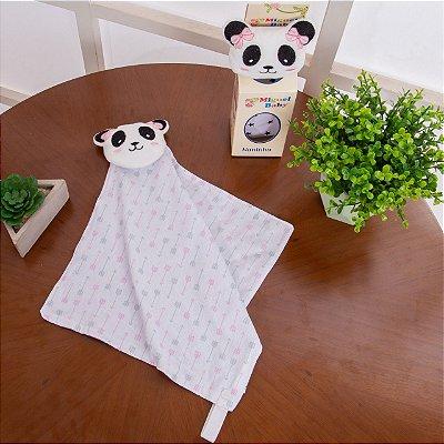 Paninho Naninha Bichinho Porta Chupeta Bebe Pelúcia - Ursinho Panda Menino
