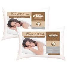 2 Travesseiros Ortobom Percal 200 Fios - 100% Algodão