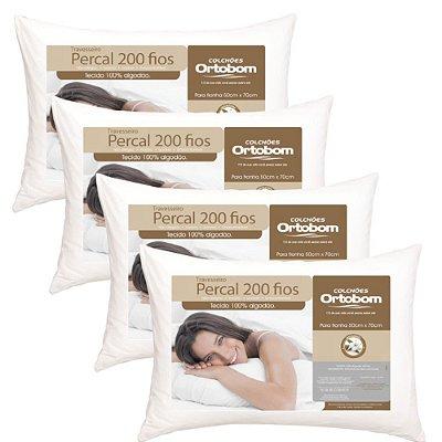 4 Travesseiros Ortobom Percal 200 Fios - 100% Algodão