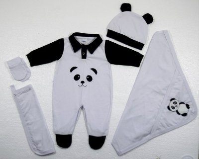 Kit Saída De Maternidade - 5 Peças Luck Panda Branco