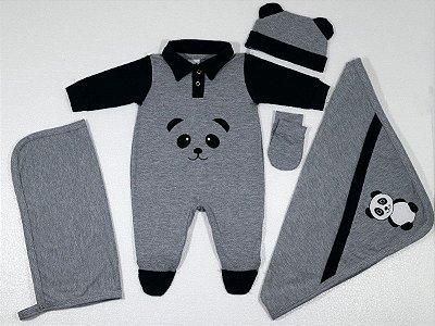 Kit Saída De Maternidade - 5 Peças Luck Panda Cinza