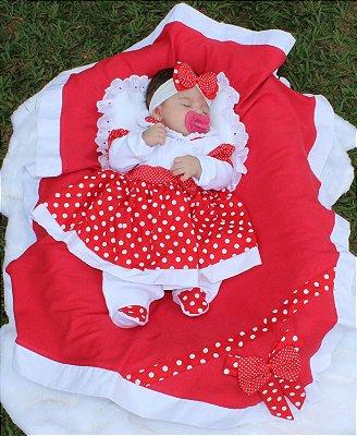 Saída De Maternidade 5 Peças Menina Charmosa Vermelha Poá
