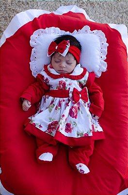 Saída De Maternidade -5 Peças - Menina Charmosa Vermelha Floral