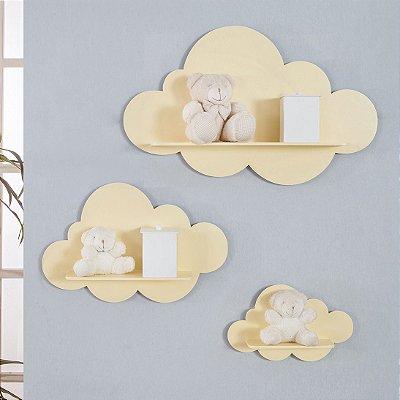 Trio De Nichos Modelo Nuvem Em Mdf Quarto De Bebê Amarelo