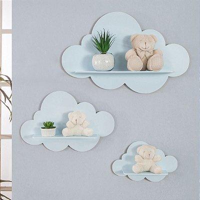 Trio De Nichos Modelo Nuvem Em Mdf Quarto De Bebê - Azul Bebê