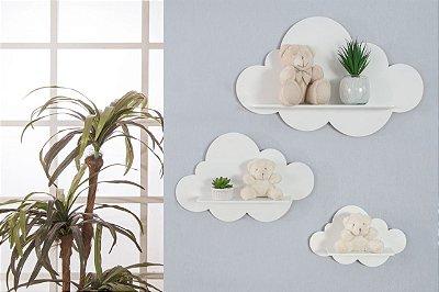 Trio De Nichos Modelo Nuvem Em Mdf Quarto De Bebê - Branco